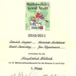 Mathe Knobelei Urkunde 2